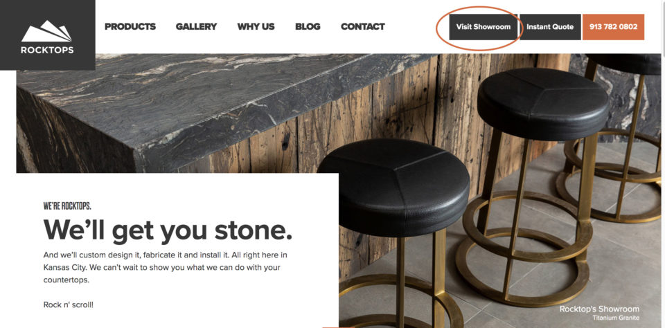 Website Image showing Showroom Button