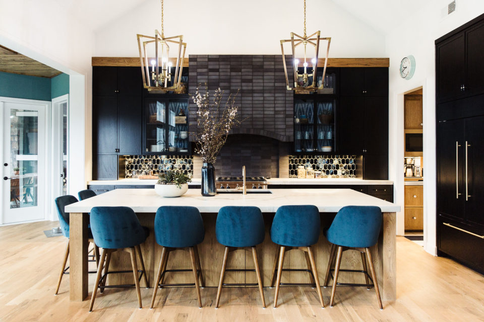 kitchen island with stone countertops