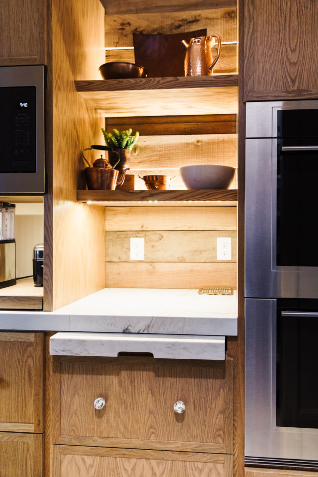 shelf with pull out stone countertop