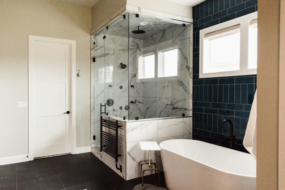 large shower and soaker tub