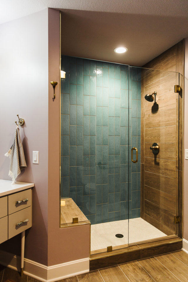 shower with green tile