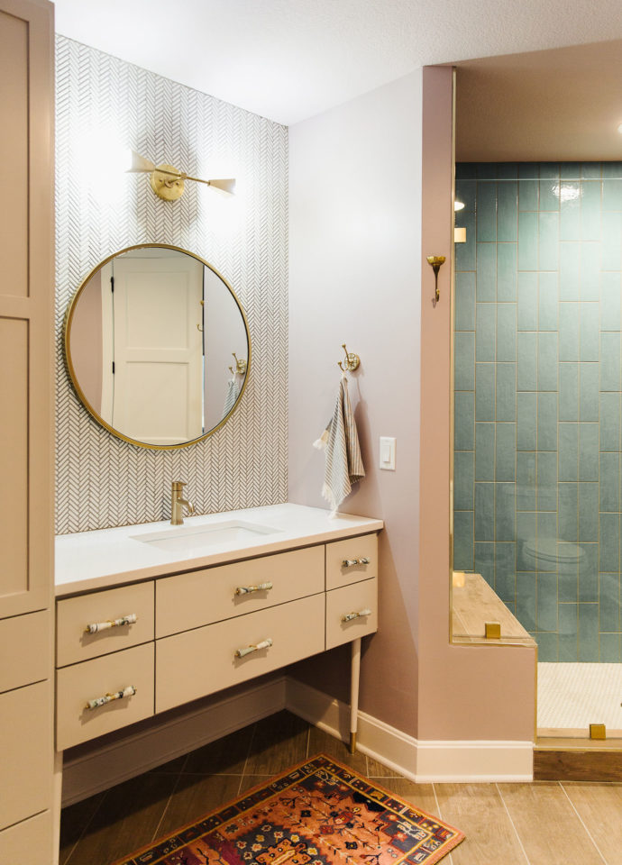 bathroom with stone countertop in kansas city