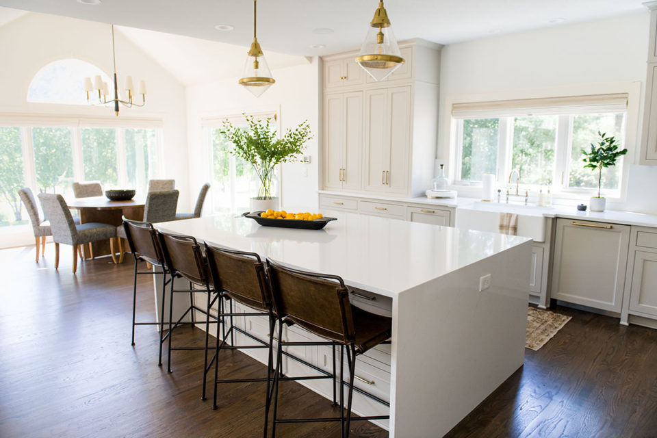 monochromatic kitchen cabinetry and counterops