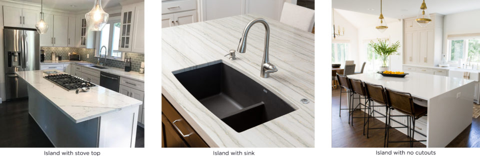 stove top, sink, no cutouts, island countertop options