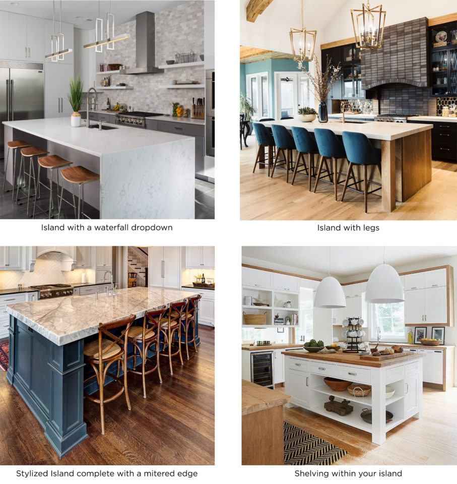 different ways to style your kitchen island countertops, waterfall dropdown, legs, mitered edge, shelving within
