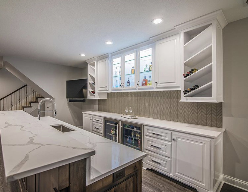 white kitchen in kansas city with two level countertop