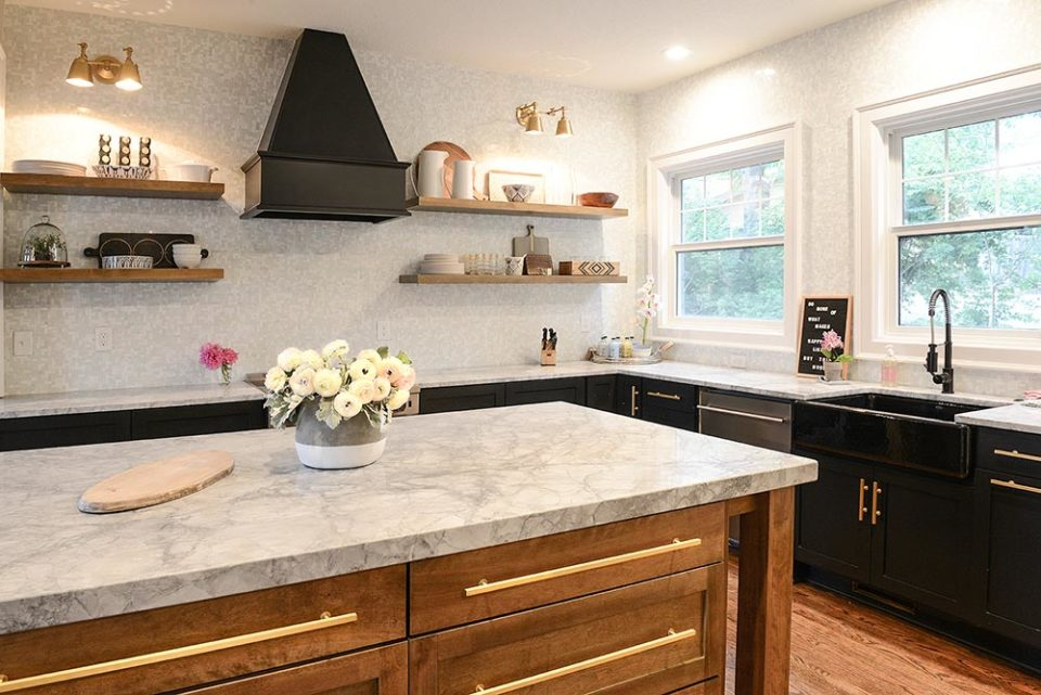 kitchen counters with arabescato marble tops