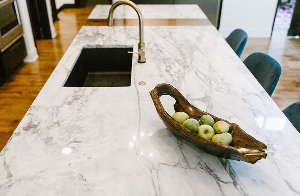marble countertops on kitchen island