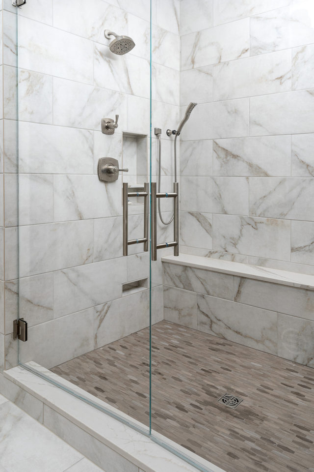 Masterbath shower with quartz ledge