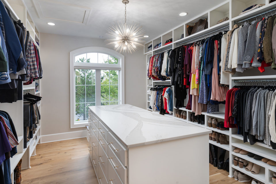 Large closet island with quartz coutnertop