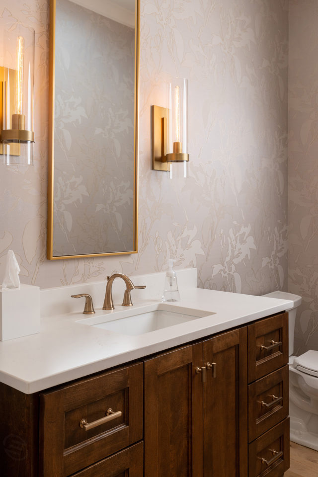 Bathroom vanity with white quartz countertop
