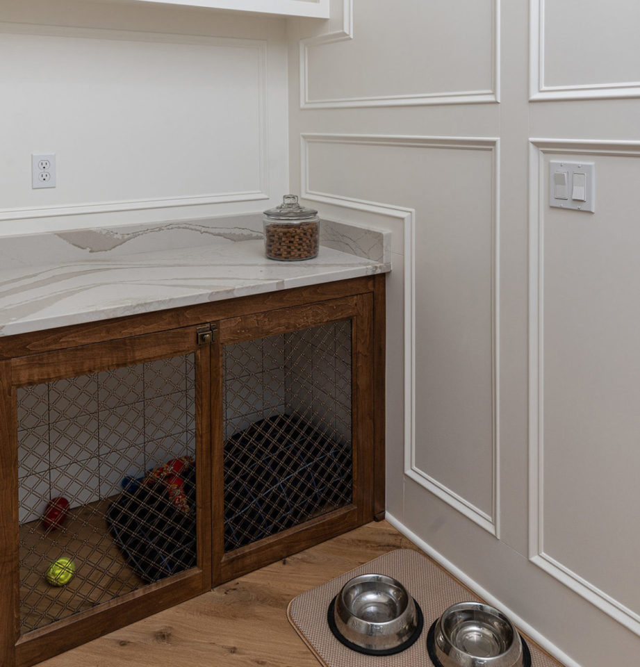Dog cage with quartz countertop
