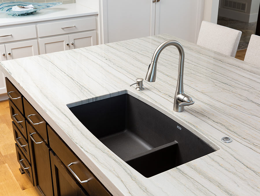 quartzite island with sink
