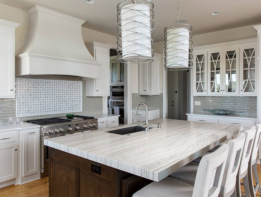 large kitchen with quartzite island