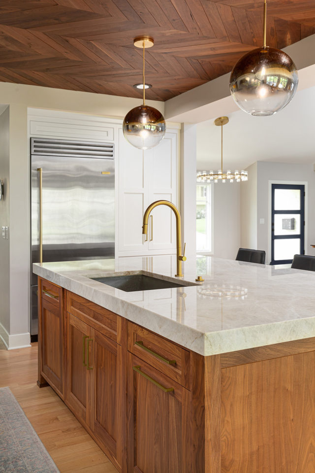 kitchen taj mahal quartzite countertop, that have, sink and island