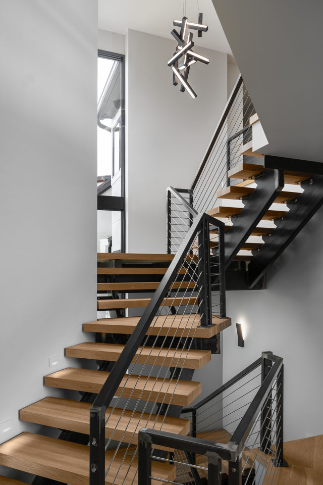 Metal railed stair case