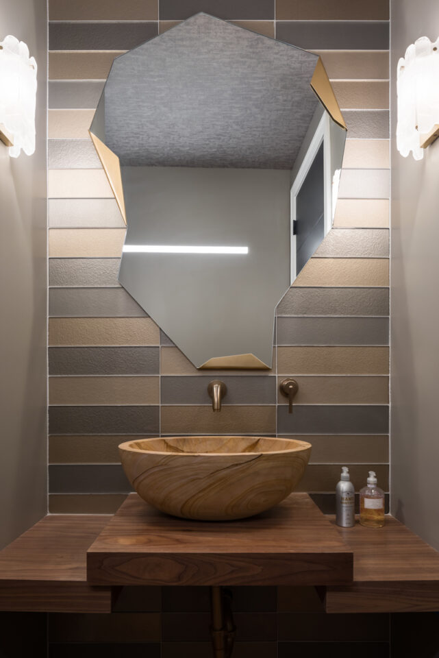 Powder bath with wood countertops